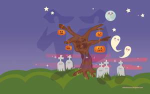 Halloween tree desktop by mllemlesucre
