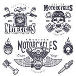 Vintage Motorcycle Emblems and Logos in EPS Vector