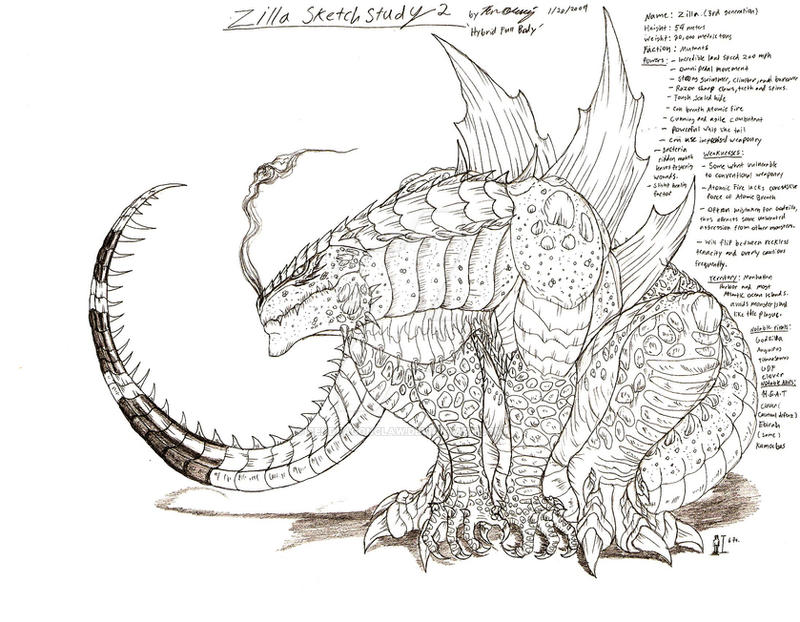 Zilla Sketch Study 2 By Rendragonclaw On Deviantart
