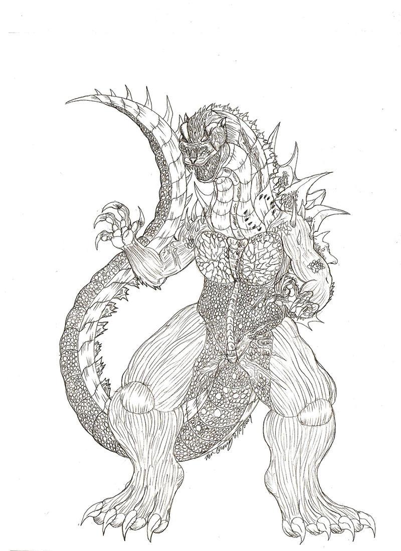 Perfecto Imprimible Godzilla Para Colorear Friso - Enmarcado Para ...