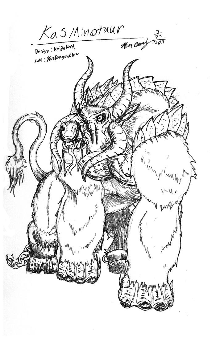 Kas Minotaur Sketch By Rendragonclaw On Deviantart Minotaur Coloring Pages