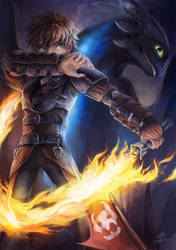 Hiccup and Toothless by koya10305