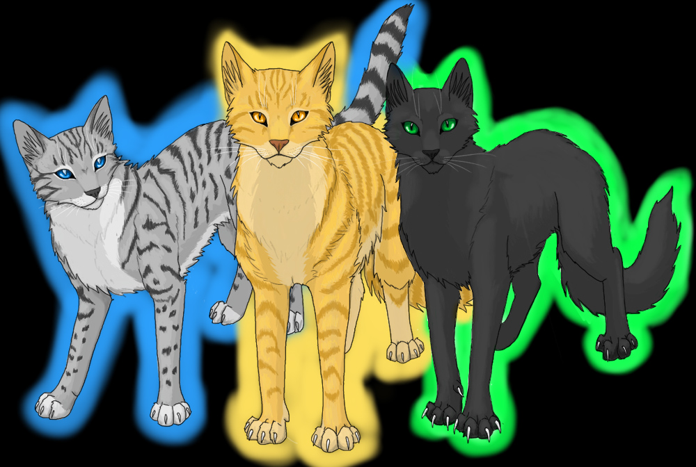 Jayfeather lionblaze and hollyleaf by vialir on deviantart The three cats