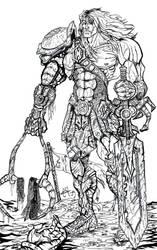 Snake Armor He-Man BW by zorm