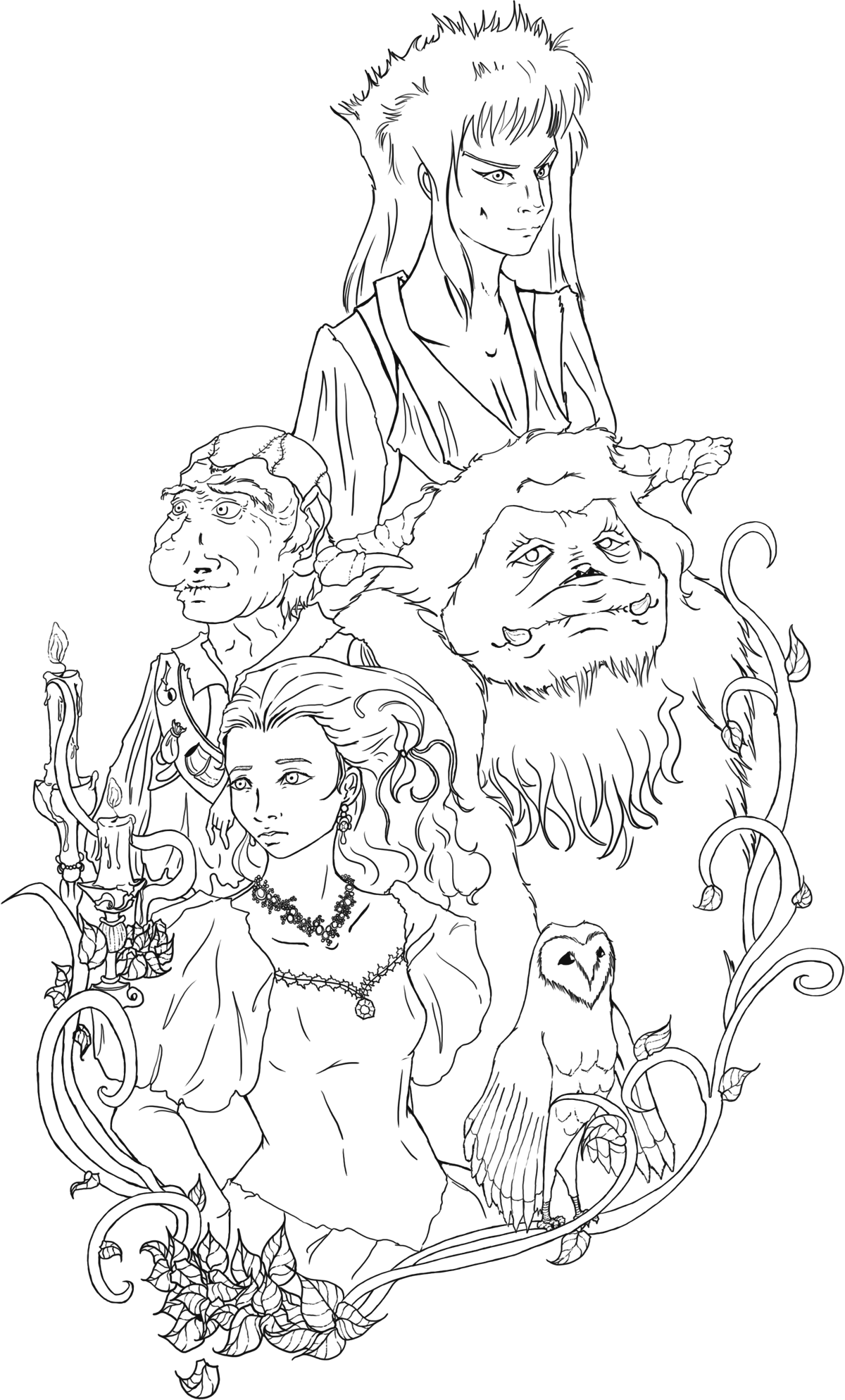 Shak line art labyrinth by lonelymori on deviantart for Labyrinth coloring pages