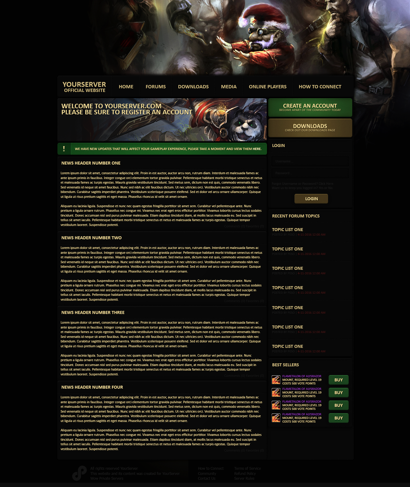 WoW Private Server Website by byPeso on DeviantArt