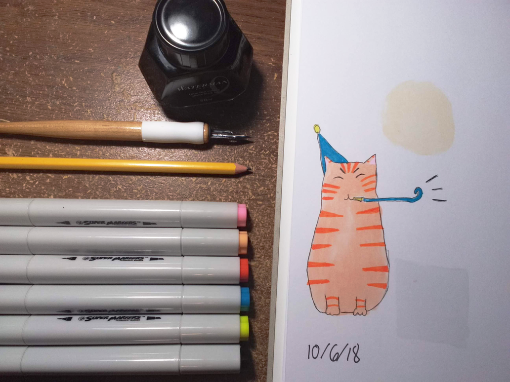Inktober Day 6 - Birthday Cat by CrossroadsWanderer
