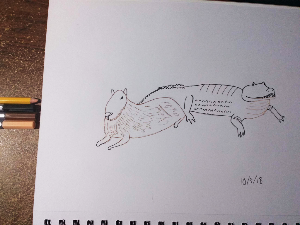 Inktober Day 9 - Capy and Croc by CrossroadsWanderer