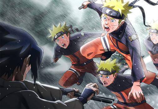 Naruto vs Sasuke in heavy rain