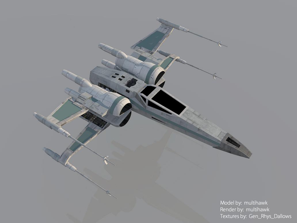 Star Wars The Force Awakens X-wing Render by multihawk