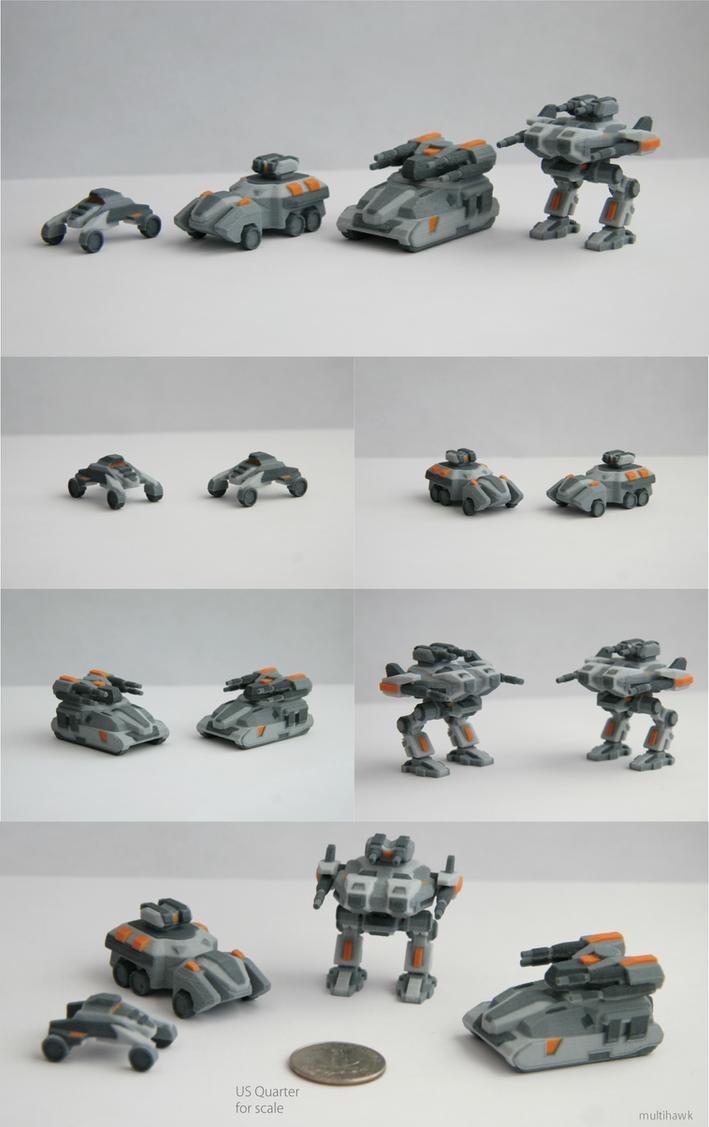 3D Printed Sci-fi Miniature Vehicles by multihawk