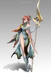 Water Elemental Priestess by coldrim
