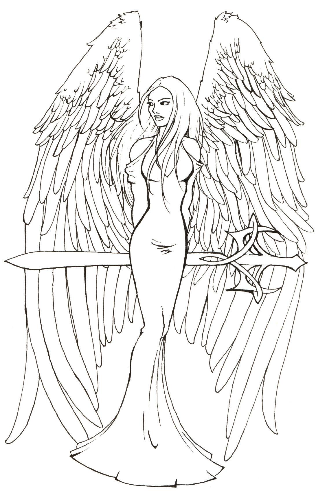 Line Art Angel : Sword angel lineart by dm dragonfyre on deviantart