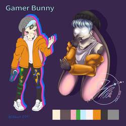 Commission 004 Caleb, Gamer Bunny Ref sheet