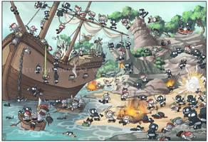 Pirates vs. Ninja by Sanaril