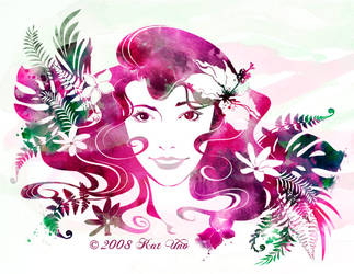 Watercolor Tropical foliage by aikochan11