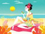 Geisha on the beach