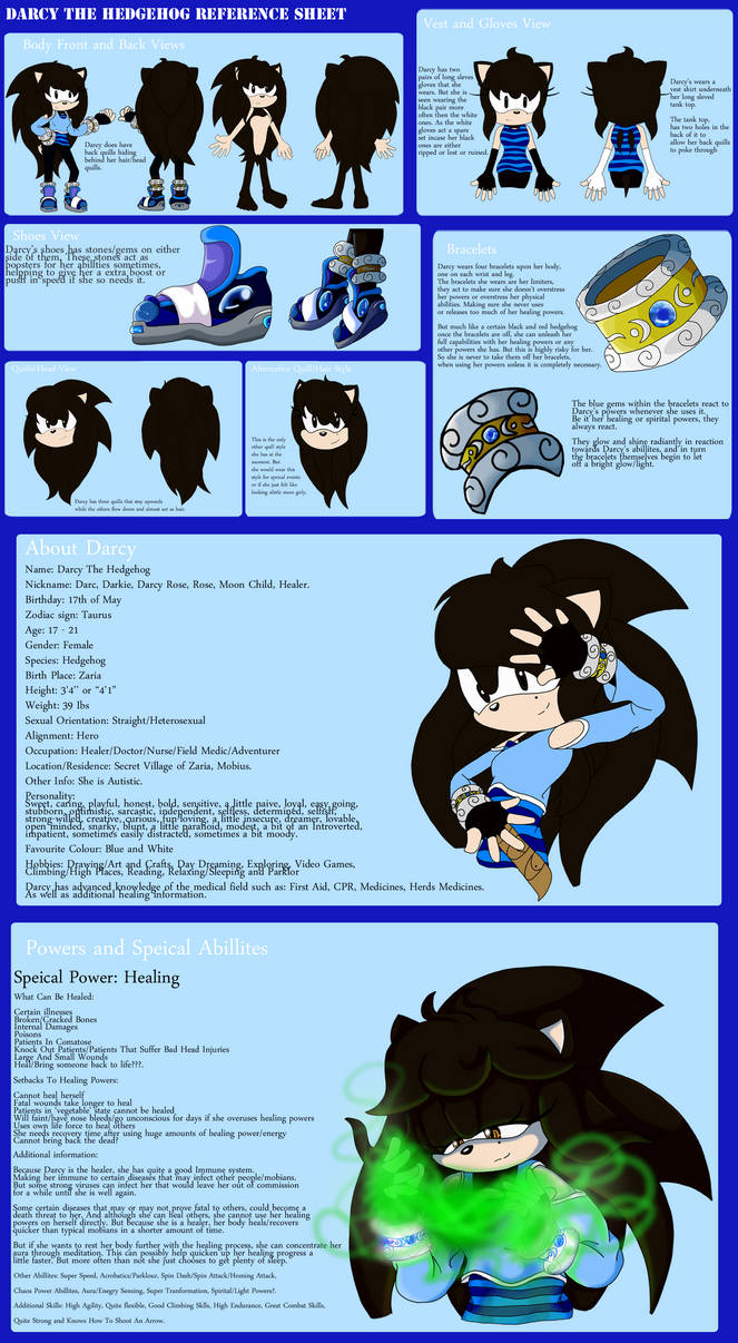 Reference Sheet Of Darcy The Hedgehog