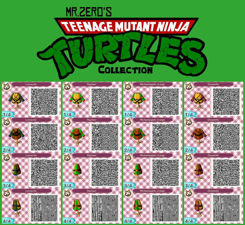 Animal Crossing  New Leaf TMNT QR Collection by misterzeroQr Codes Animal Crossing New Leaf Pokemon