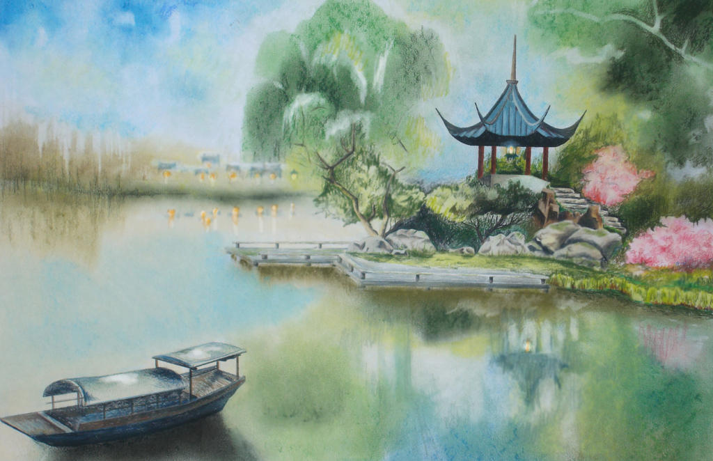 Chinese Gazebo Over the Pond