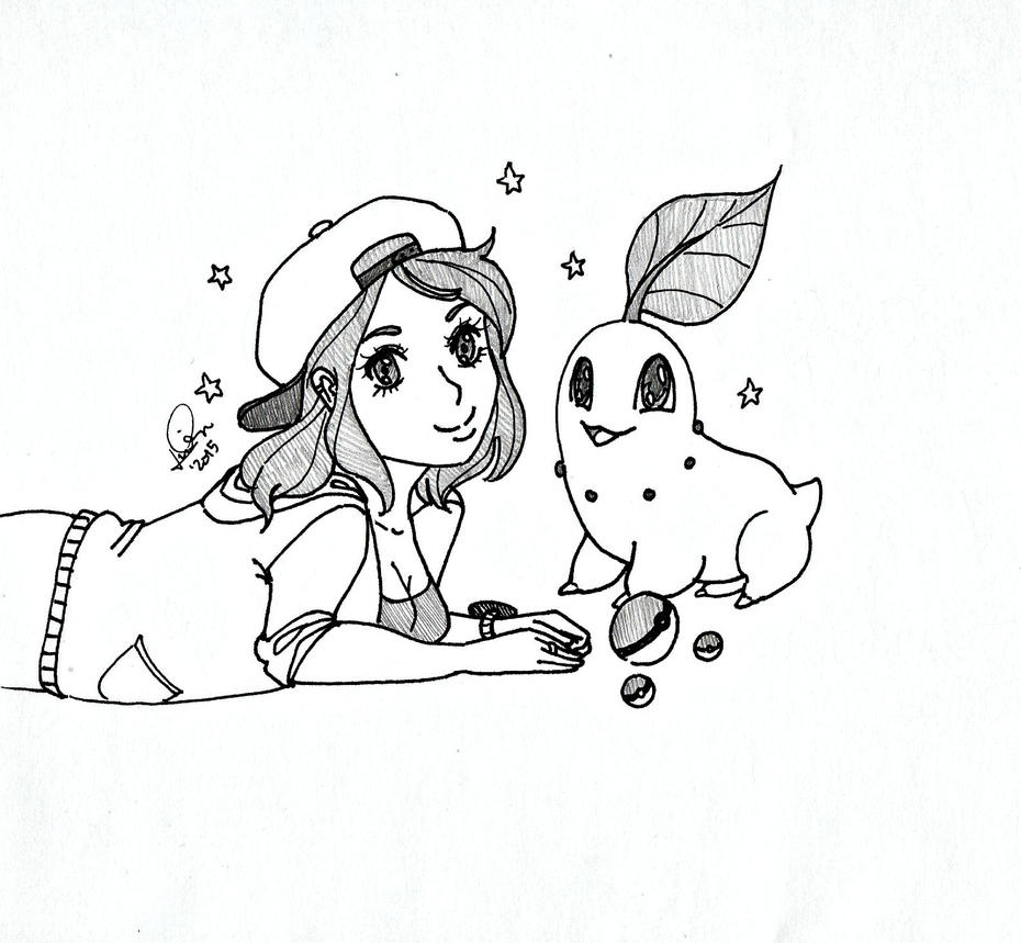 Poke-doodle: A Trainer and Chikorita by Wandering-Lady