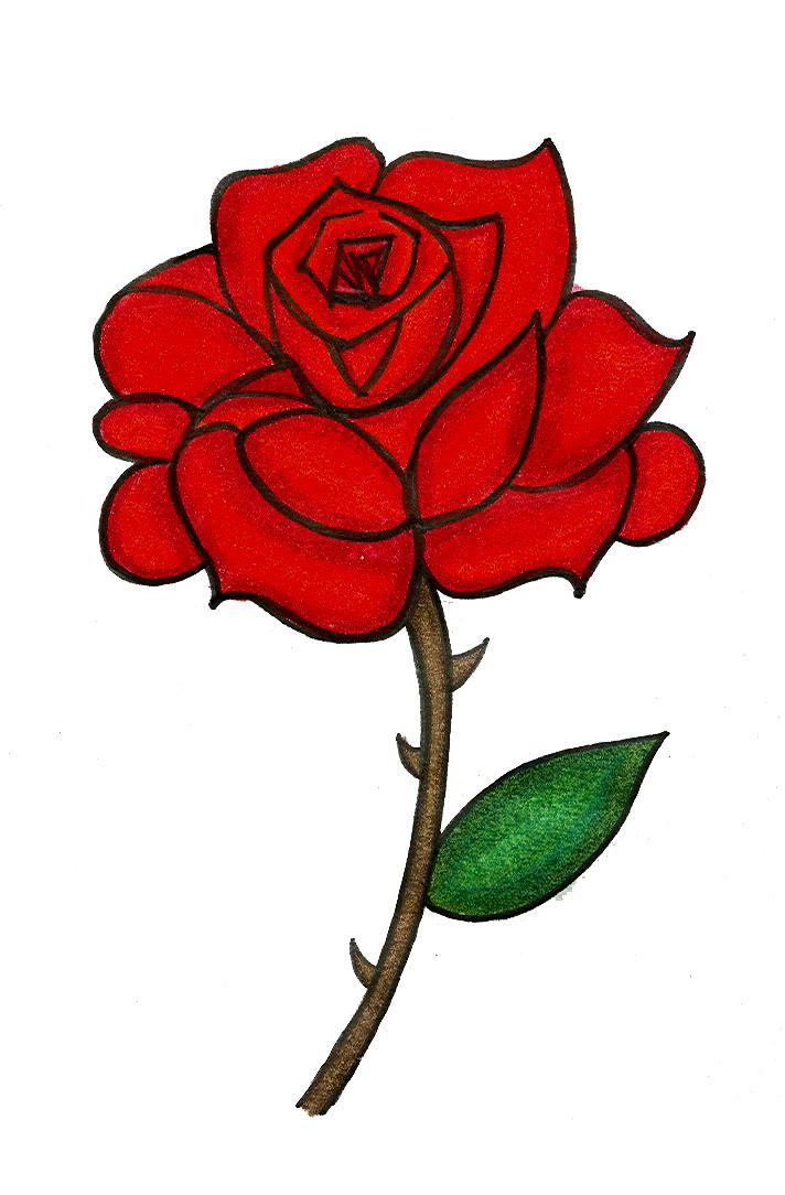 rose tattoo-colored by starflower135 on DeviantArt