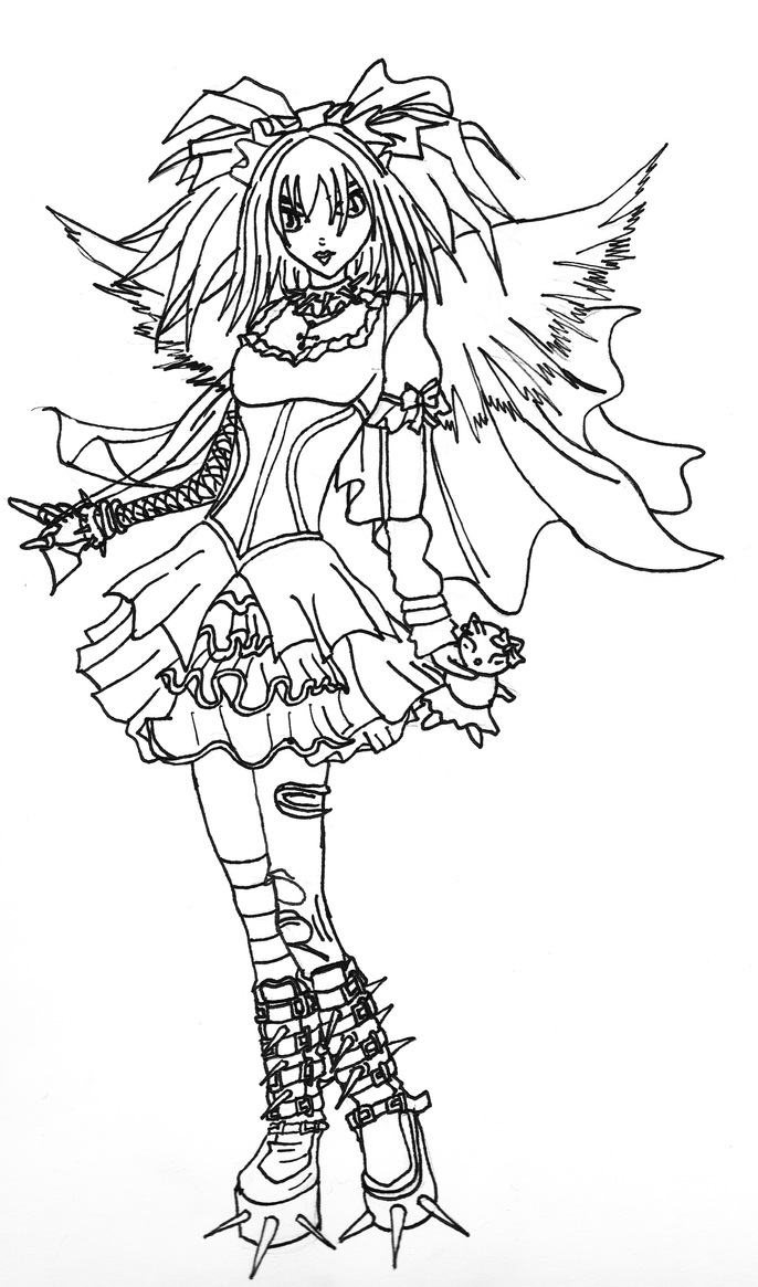 Gothic Angel Lineart by Kestrel36 on DeviantArt