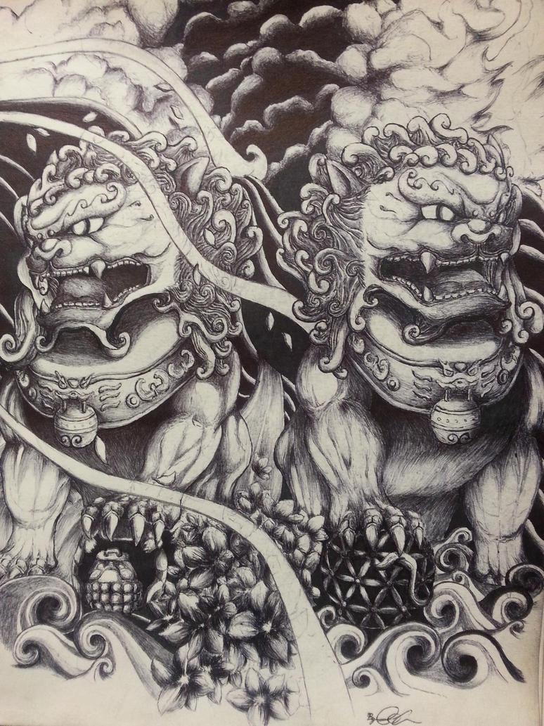 chinese foo dog drawing