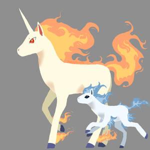 Lineless Rapidash and Ponyta