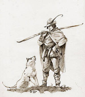 Dog and archer