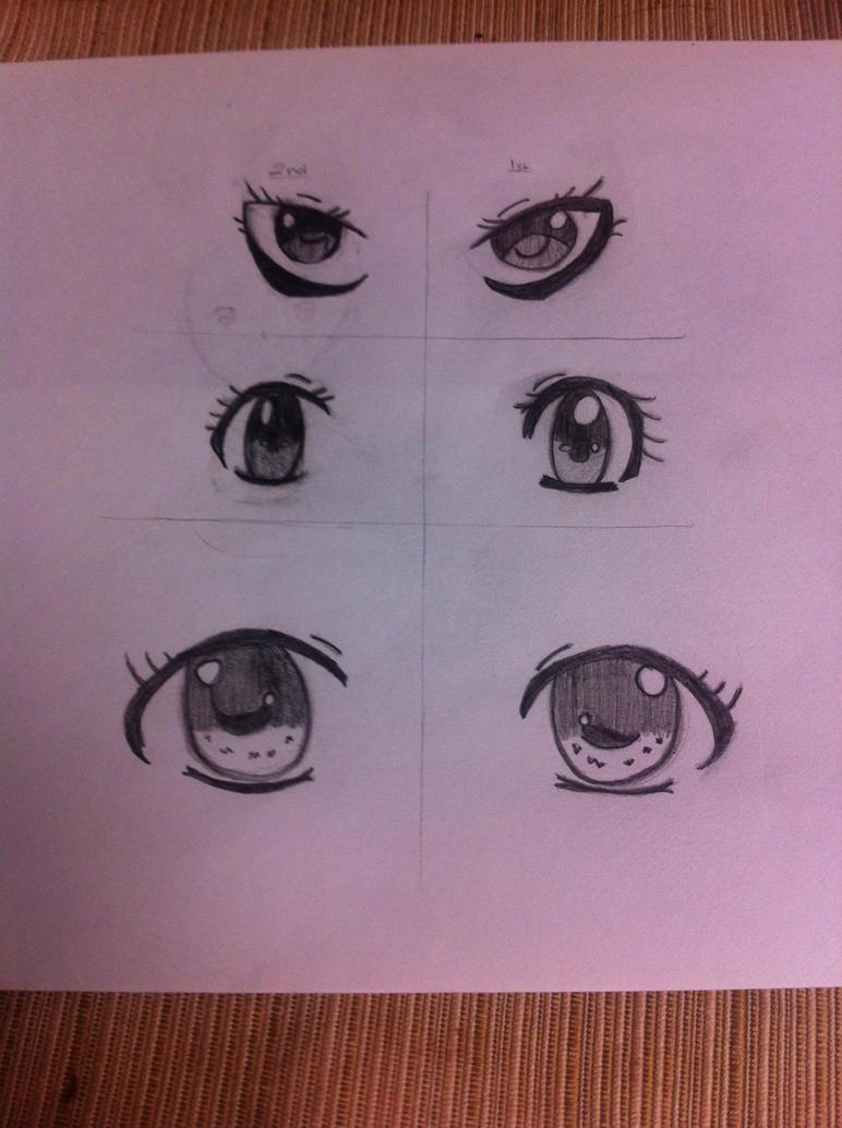 Manga Eye Practices - Girl version 2nd attempt by xXRedNinjaXx