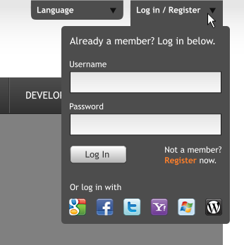 Inkscape.org redesign - login by duckgoesoink