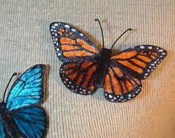 Velvet Monarch butterfly pin