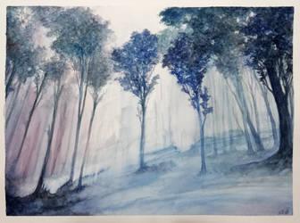 Original watercolor - oniric woods