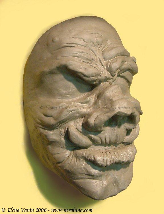 Ork mask sculpture by Lluhnij