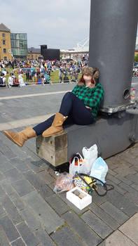 Wendy taking a nap at London MCM