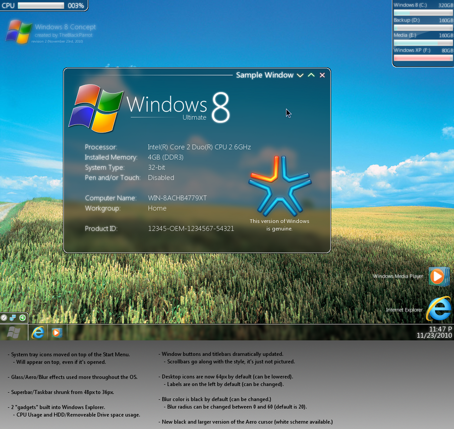 Windows 8 Concept -Revision 2- by TheBlackParrot