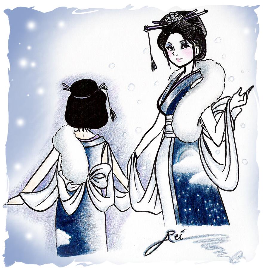 First Snow Geimyo Kimono by NeonGenesisEVARei