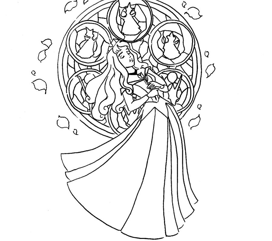 Kingdom Hearts Coloring Pages Stained Glass