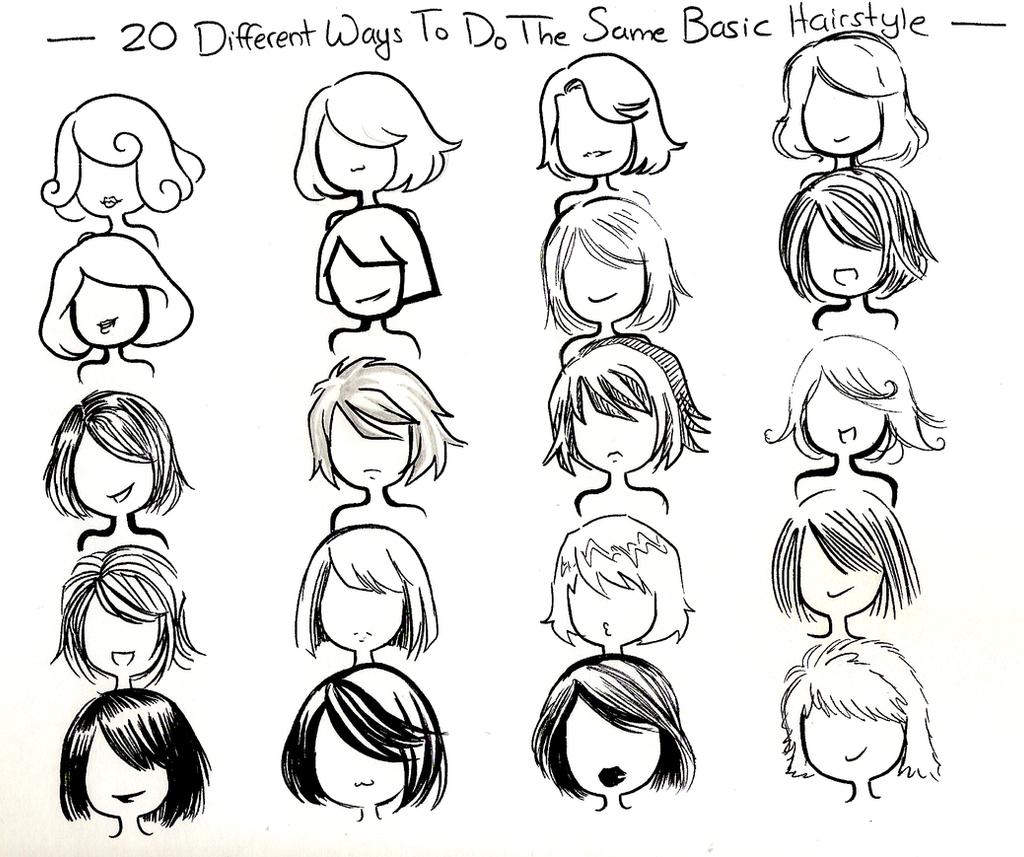Scribble Drawing Style : Twenty ways basic hairstyle by neongenesisevarei on