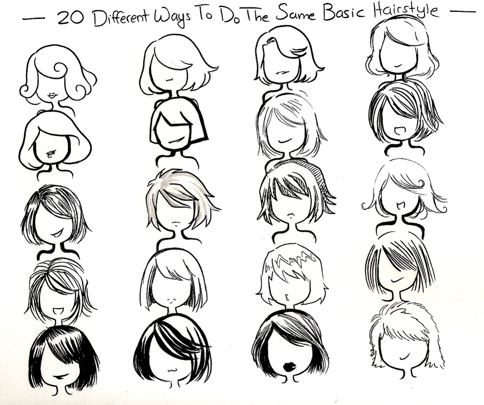 Scribble Drawing Style : Twenty ways basic hairstyle by neongenesisevarei on deviantart