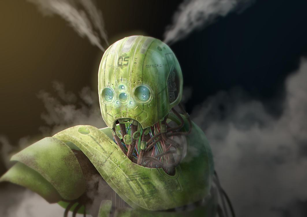 Green robot sketch by Fatmarco