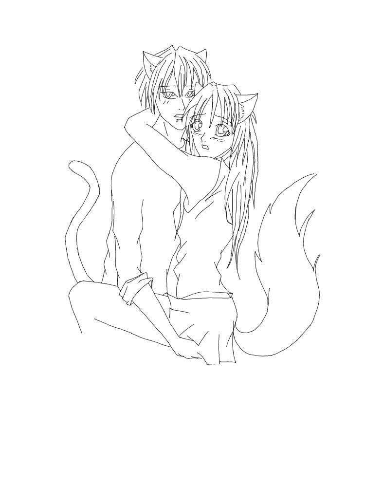 Line Drawing Boy : Anime neko girl line art sex porn images