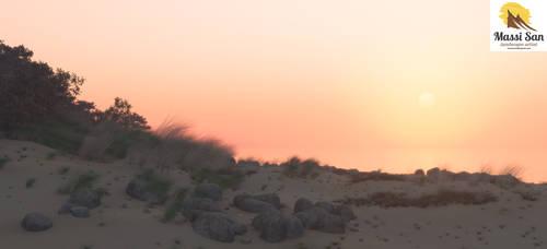 Dune Grass Sun Down by Massi-San