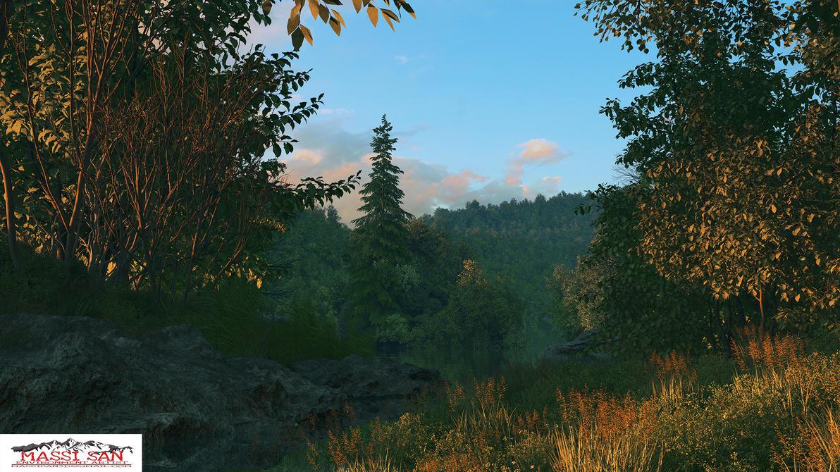 Hidden Lake Evening Da by Massi-San