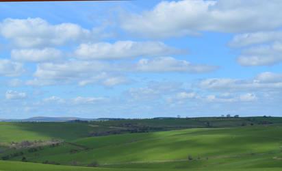 Poppystock - green hills, Welsh borders