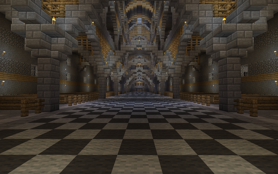 Massive Minecraft Cathedral Inside Hallway View By