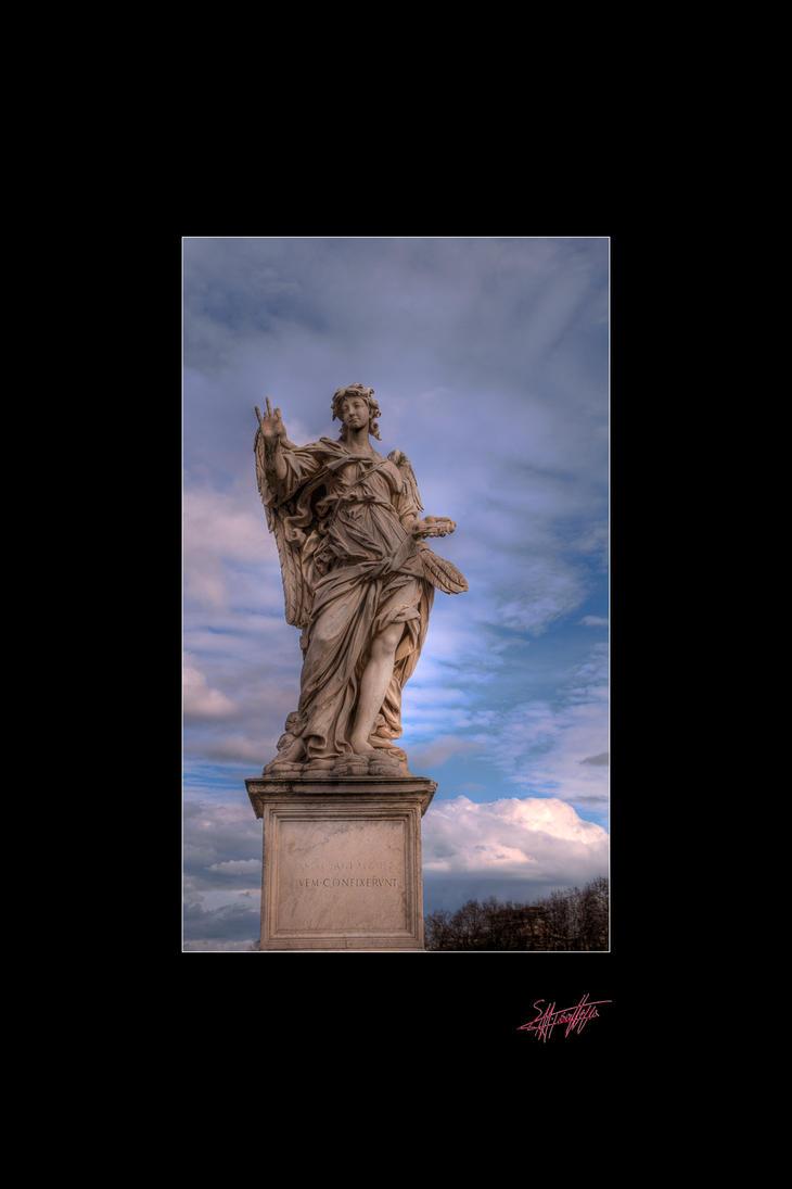 Statue in Tevere Bridge Rome by etsap