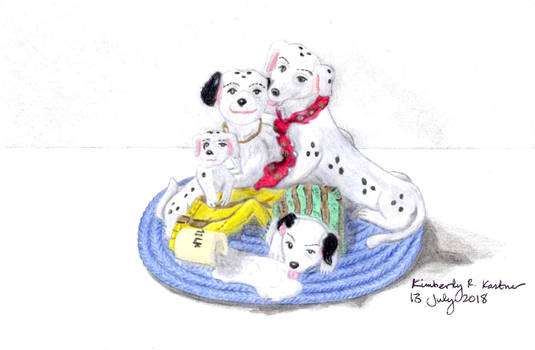 Dalmatian Family Figurine