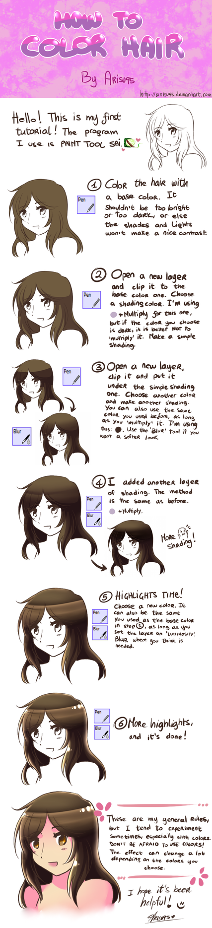 How to color hair - Tutorial by Arisu95